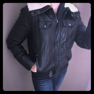 NWT Calvin Klein leather fur fleece biker jacket